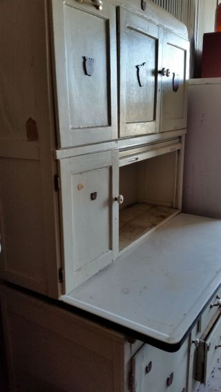Vintage Hoosier Kitchen Cabinet Enamel Top Flour Sifter Apples Rough Needs Work photo