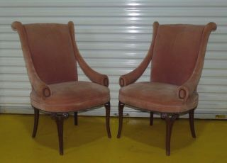 Pair Vintage Hollywood Regency Lounge Club Parlor Chairs Mid Century Art Deco photo