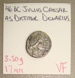 46 Bc Julius Caesar As Dictator Ancient Roman Republic Silver Denarius Vf photo