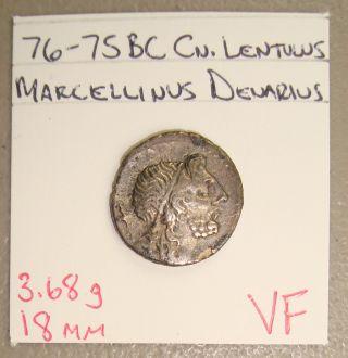 76 - 75 Bc Cn.  Lentulus Marcellinus Ancient Roman Republic Silver Denarius Vf photo