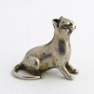 Antique Miniature Continental Silver Figure Of A Lioness,  Marked 800 photo
