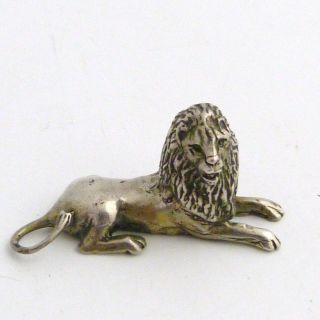 Antique Miniature Silver Figure Of A Lion photo