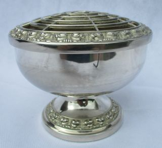Vintage Large Silver Plated Rose Bowl Posy Bowl By Ianthe 6 Inch Dia photo