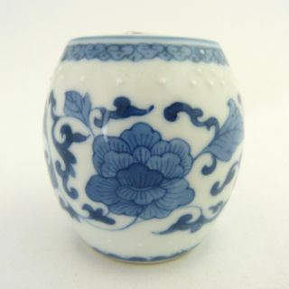 Miniature Chinese Blue And White Porcelain Barrel And Cover photo