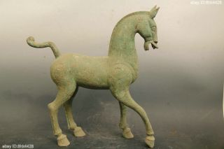 52cm Huge Rare Chinese Old Bronze Antique Standing Elegant Horse photo