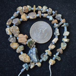 Ancient Roman Glass Beads 1 Medium Strand Yellow 100 - 200 Bc 0193 photo