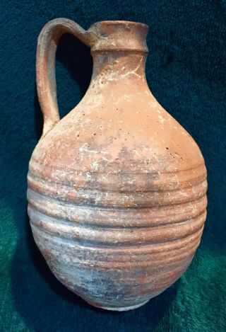 Ancient Roman Terracotta Pitcher/jug With Linear Groove Design And Maker ' S Mark photo