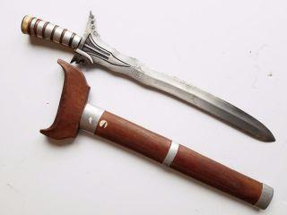 Old Antique Vintage Moro Kris Sword,  No Keris Barong Sword photo