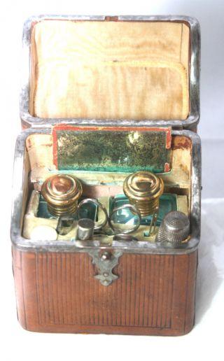 Antique C1850 Large Etui,  10pc Unique Leather Necessaire Sewing Box photo