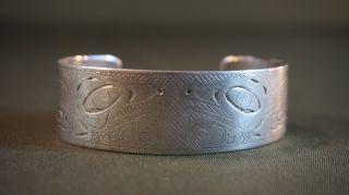 Very Rare Late 19thcentury Nw Alaska Tlingit Double Thunderbird Silver Bracelet photo