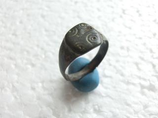 Roman Empire Ancient Roman Bronze Ring Decorated Bezel Great Patina photo