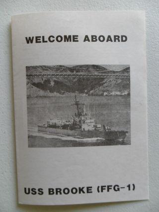 Navy Uss Brooke (ffg - 01) Welcome Aboard 1980s photo