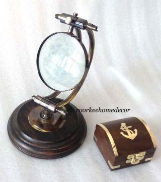Antique Finish Vintage Maritime Table Top Magnifying Adjustable With Gift photo