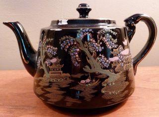 Antique Gibsons Asian - Themed Black Teapot,  Gold Filigree Pagoda,  Enamel Beading photo
