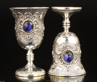 Pair Tibet Silver And Sapphire Decoration Noble Glass Wine Cup Goblets Hand photo