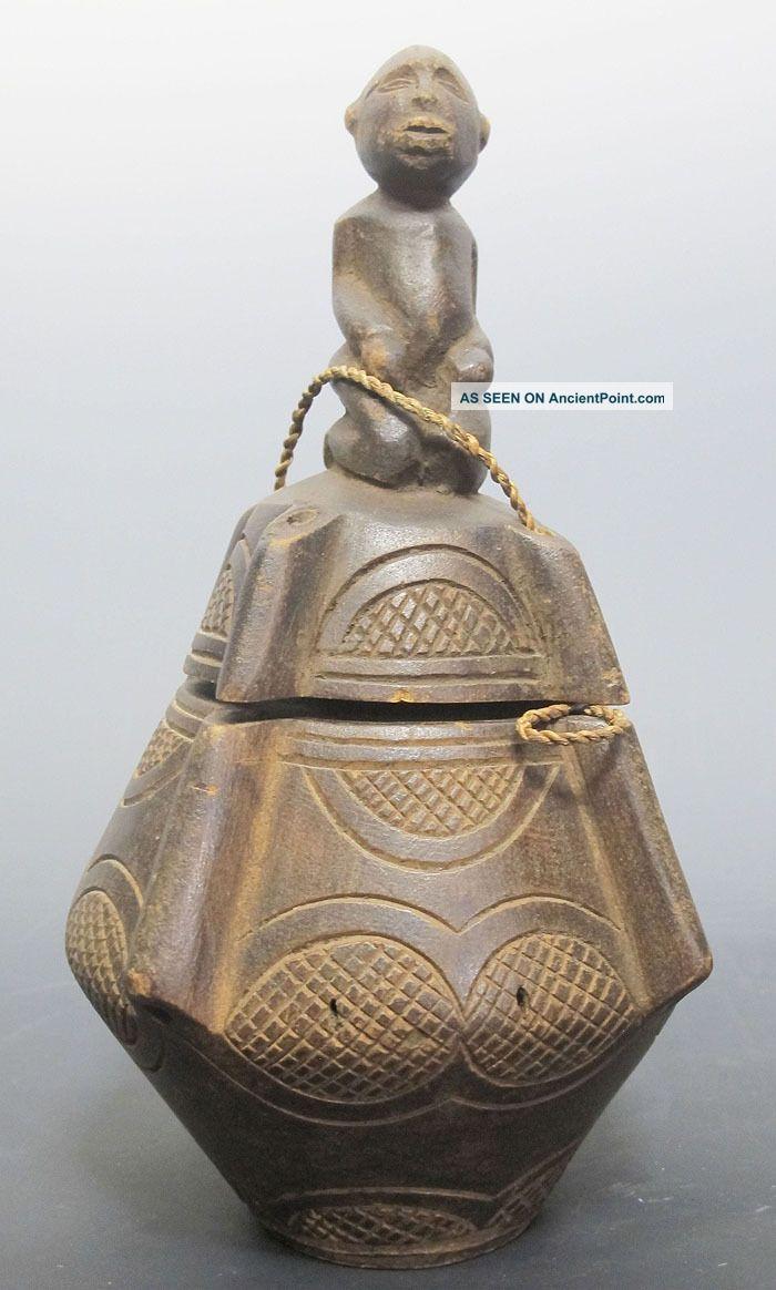 Antique African Tribe Baule Tribal Art Figural Wooden Vessle Sculpture Nr Yqz Sculptures & Statues photo