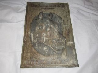 Antique Dr.  Lesure ' S Famous Remedies Veterinary Cabinet Horse Tin Sign / Panel photo