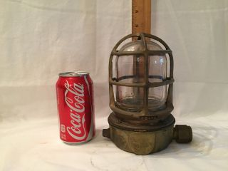 Passageway Light Fixture Cast Brass Cage Industrial Lamp Russell & Stoll Vintage photo