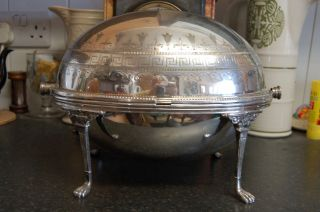 Victorian Silver Plated Revolving Serving Dish photo