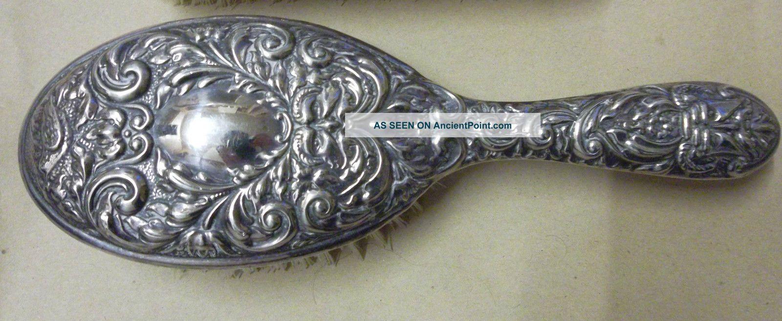 Broadway & Co - Solid Silver Hair Brush - Birmingham 1973 Bi - Centenary Hallmark Brushes & Grooming Sets photo
