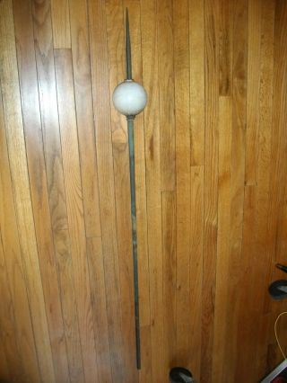 Lightning Rod Weathervane Old Antique Patina Copper Milk Glass Ball Spear photo