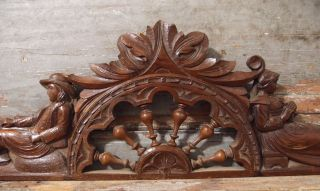 41.  54 In Antique French Hand Carved Wood Breton Couple Wall Door Pediment photo