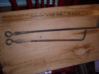2 Old Antique Primitive Hand Forged Fire Poker Fireplace Wrought Iron photo