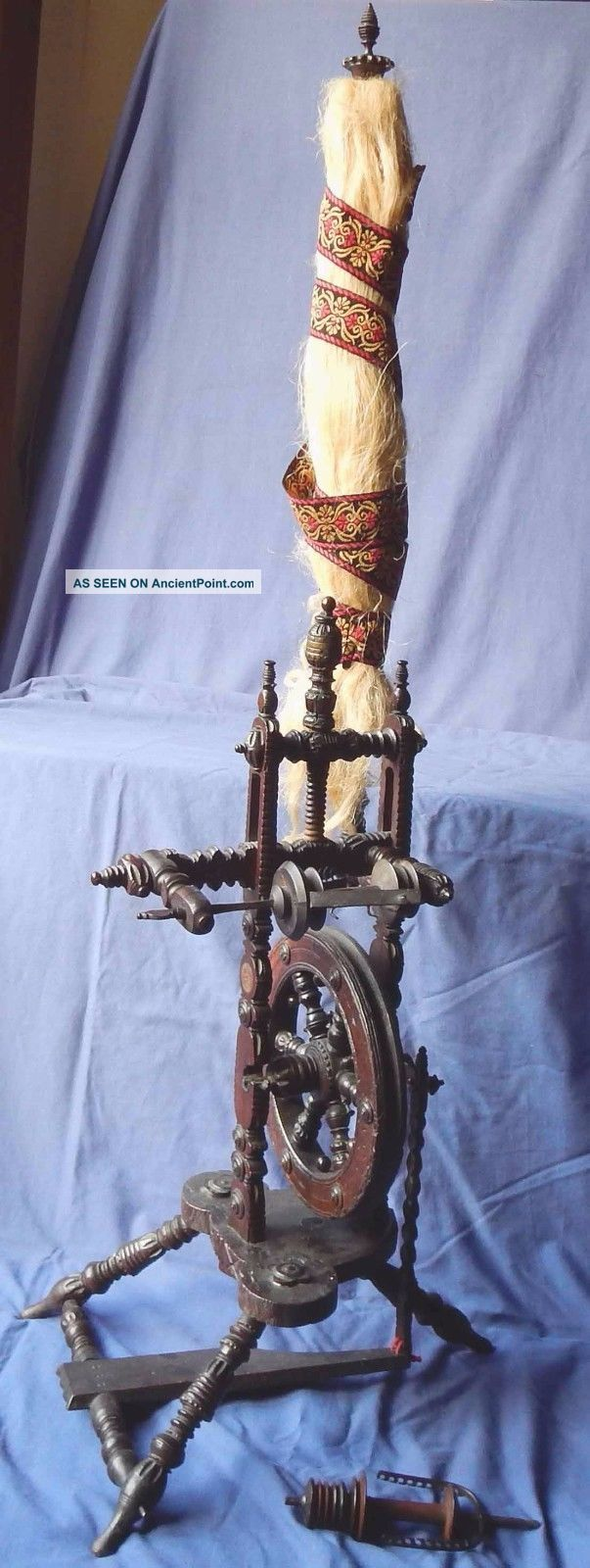 Exceptional & Complete 19th Century German Spinning Wheel & Distaff,  Circa 1875 Other Antique Sewing photo