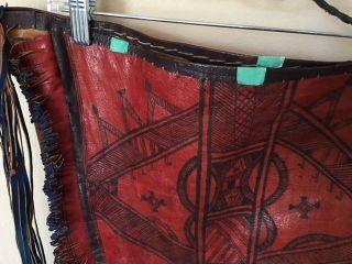 Antique Nomadic Tuareg Large Hand Dyed Leather Bag Tribaly Sahara Africa photo