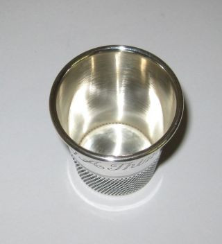 Vintage Sterling Silver Only A Thimble Full Shot Glass Jigger photo