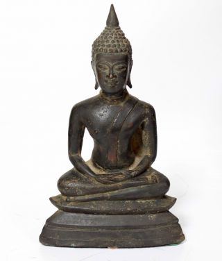 An Antique Nepal / India Asia Gold Gilt Bronze Buddha Figure photo