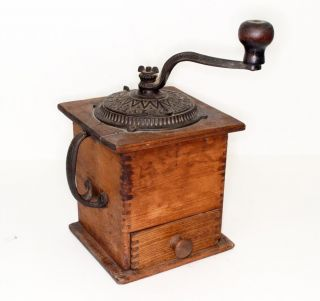 Coffee Grinder Imperial Arcade Mill Iron Wood Box Style Antique 1800 photo