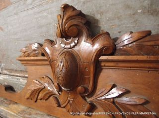 32.  99 In Antique French Carved Wood Rococo Coat Of Arms Wall Door Pediment 19 Th photo