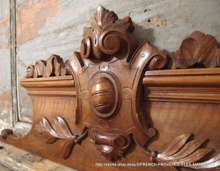 42.  52 In Antique French Carved Wood Rococo Coat Of Arms Wall Door Pediment 19 Th photo