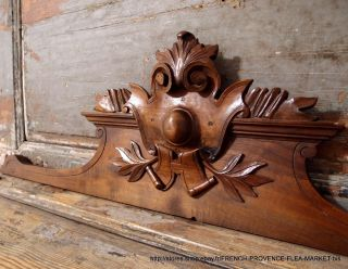 39.  76 In Antique French Hand Carved Wood Rococo Coat Of Arms Wall Door Pediment photo