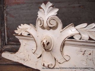 28.  19 In White Shabby Painted Pediment 19 Th Antique French Carved Wood Panel photo