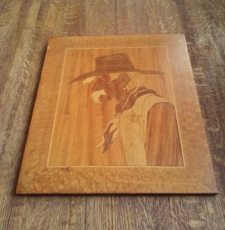 Antique Folk Art Cowboy Hand Carved Wooden Inlay Primitive Western Picture A, photo