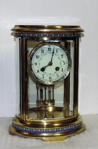 Rare Mougin Cloisonne Brass Antique Oval Chime Clock Crystal Regulator photo