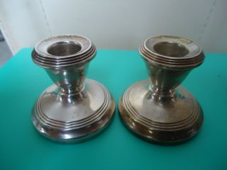 Pair 1965 Vintage British Hallmarked Sterling Silver Candlesticks Candle Holders photo