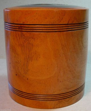 Medical Tobacco Folk Art Antique Treen Wood Cylinder Container,  Lid Lrg Wooden photo