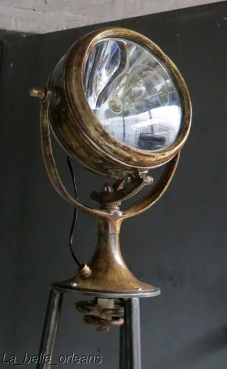 Stunning 1930 ' S Solid Brass Searchlight In Custom Made Tripod Stand.  Floor Lamp photo