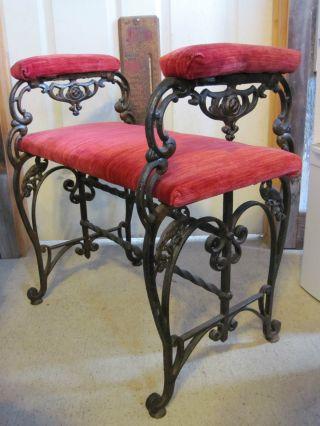 Ornate Antique Victorian Art Deco Cast Iron Red Velvet Piano Vanity Bench Stool photo