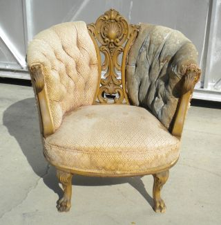 Antique Victorian Parlor Chair Carved Wood & Upholstery In Need Of Tlc photo