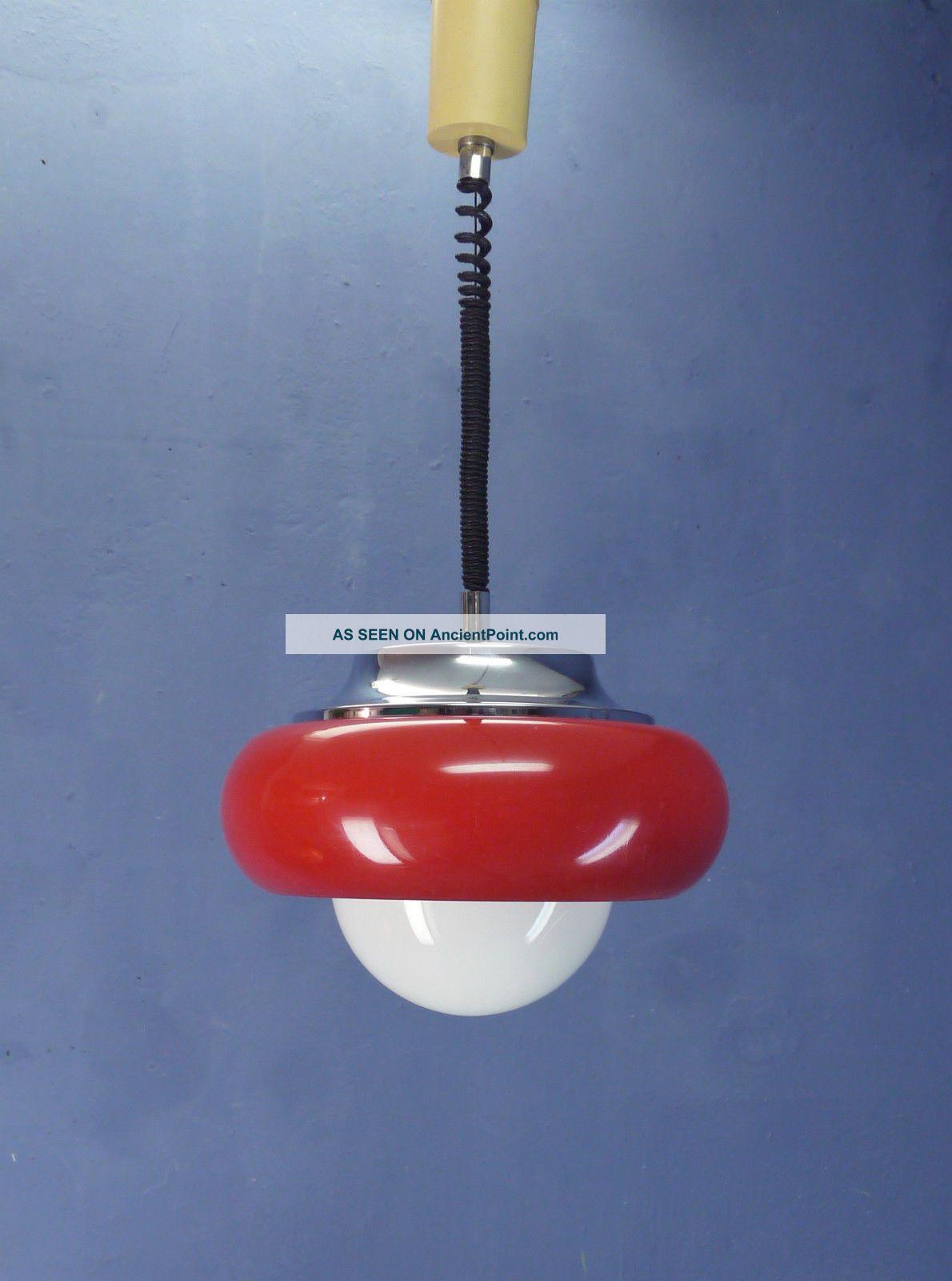 Vintage Retro Space Age 60s 70s Guzzini Meblo Ufo Ceiling Lamp Pull Down Pendant 20th Century photo