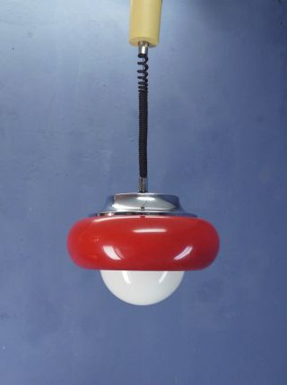 Vintage Retro Space Age 60s 70s Guzzini Meblo Ufo Ceiling Lamp Pull Down Pendant photo