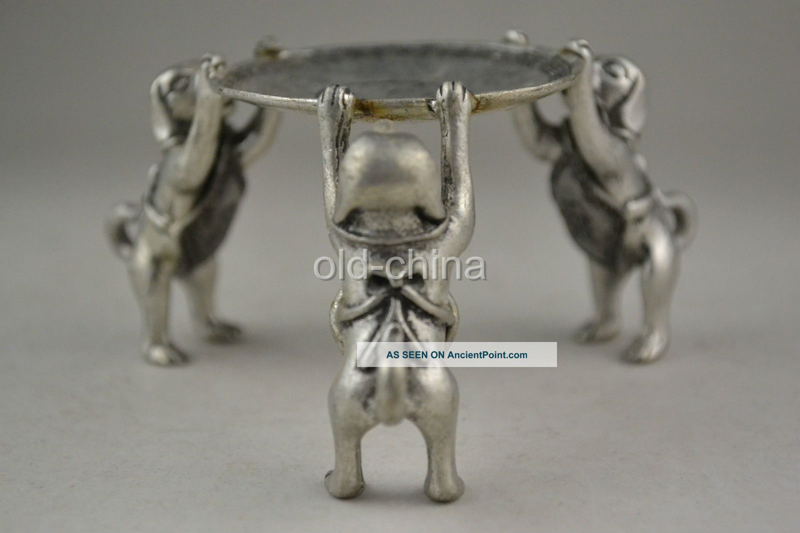 Oriental First - Rate Old Tibet Silver 3 Dog Hold Taiji Pattern Candlestick Candlesticks & Candelabra photo