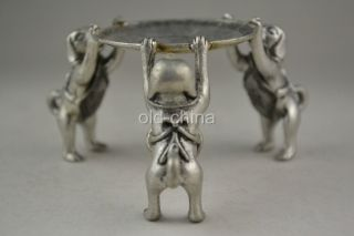 Oriental First - Rate Old Tibet Silver 3 Dog Hold Taiji Pattern Candlestick photo