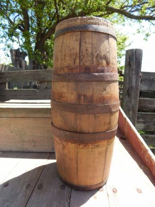 Antique 1800s Wooden Oak Barrel Vintage Primitive Rustic Farm Decor 2046 photo