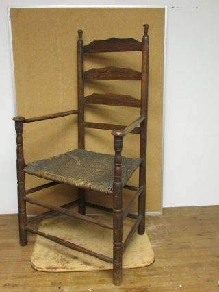 Very Rare 17th C Pilgrim Period Ma Ladderback Mushroom Armchair Surface photo