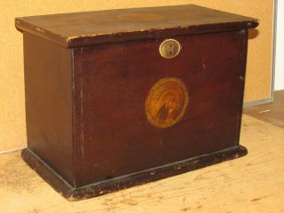 Rare 19th C Painted Document Box Brown W/ York & Jersey Seals photo